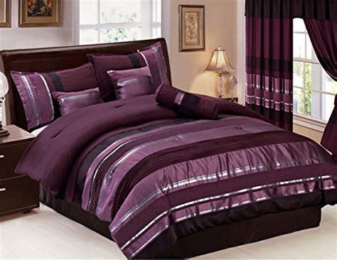 eggplant color comforter 7 oversize eggplant purple black silver stripe