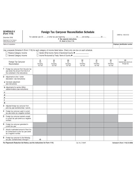 form 1118 schedule k foreign tax carryover
