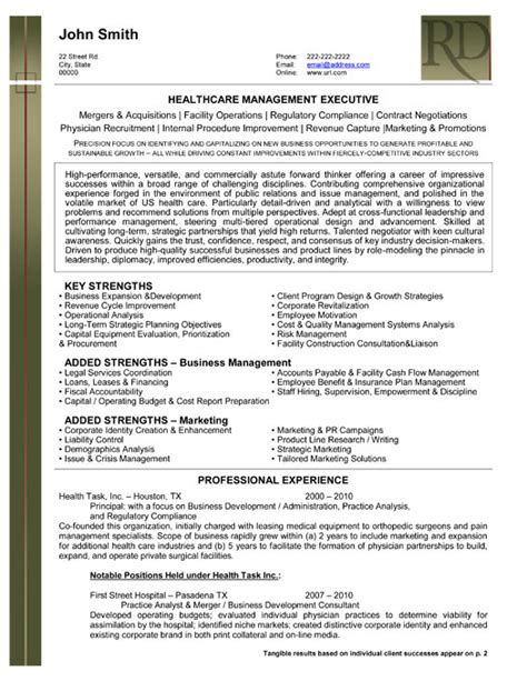 Resume Exles For Healthcare Executives best executive resume templates sles on resume templates professional resume