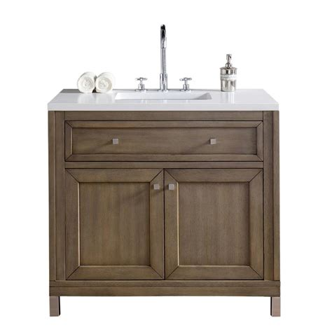 Martin Vanity by Martin Signature Vanities Chicago 36 In W Single Vanity In Whitewashed Walnut With Quartz
