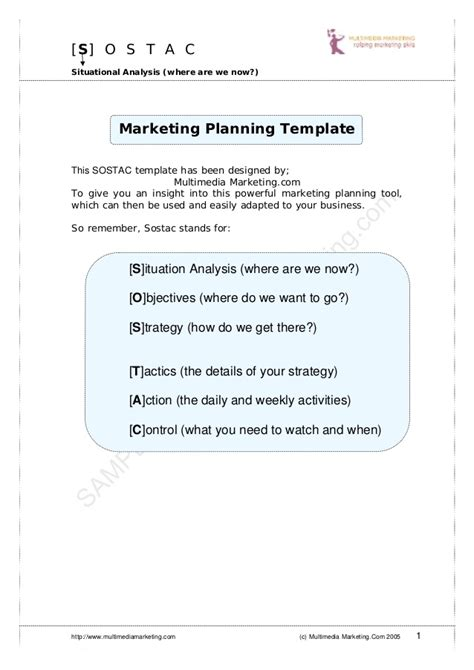 marketing planning template sostac sle