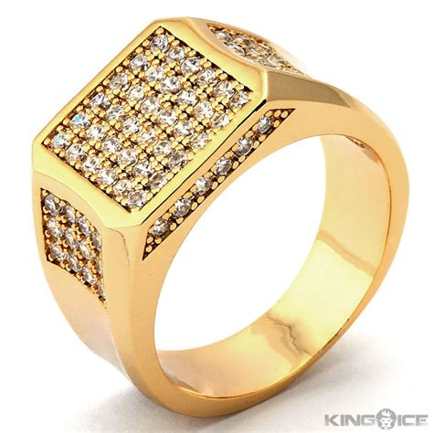 plain gold rings for mens gold plated cz square