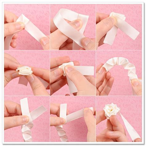 How To Fold Paper Ribbon - ribbon flowers tutorial make flowers flower triangles