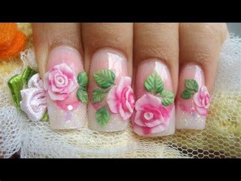 imagenes de uñas acrilicas con flores 3d como hacer rosas acrilicas en 3d relieve sobre u 241 as youtube