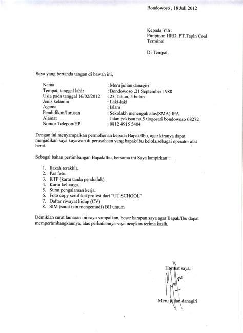 format surat lamaran kerja dan cv ben