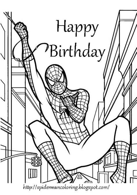 happy spider coloring page free printable coloring birthday cards for boys