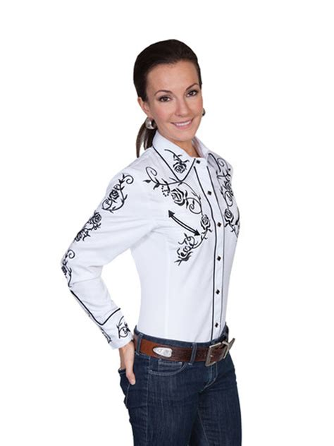 scully western womens white polyester l s vine