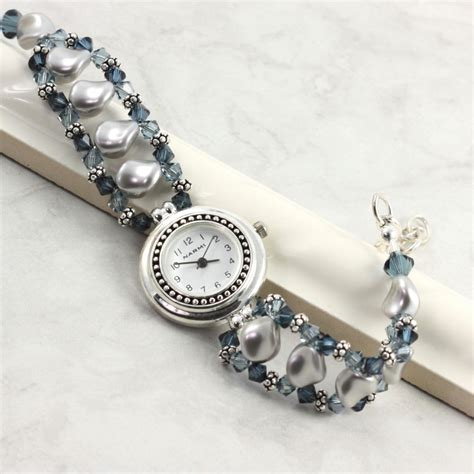 Pearl Beaded Band Gray Blue Sapphire By