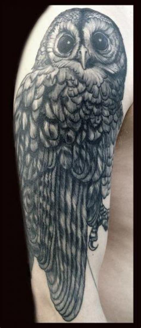 shoulder owl tattoo by tin tin tattoos