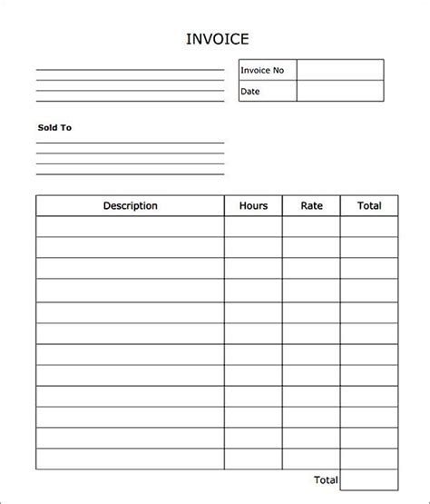 blank invoice template microsoft blank invoice forms hardhost info