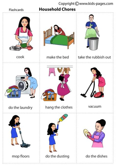 house chores household chores flashcard