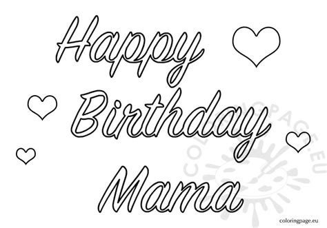 happy birthday mama coloring page