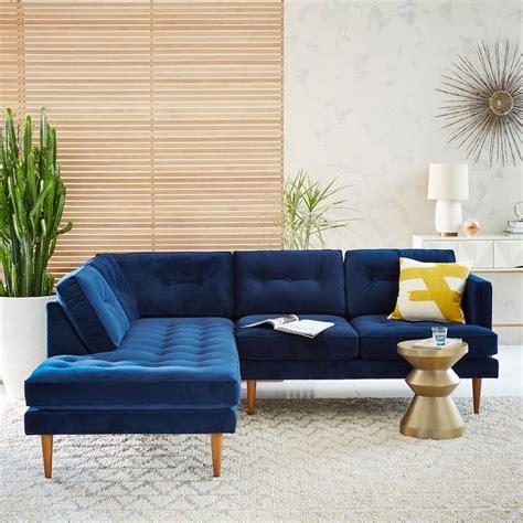 blue mid century modern sofa peggy mid century set 2 right arm sofa left terminal