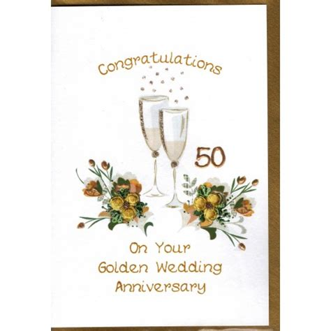 Wedding Anniversary Golden by Golden Wedding Anniversary Card Chagne Flutes Wwwe05