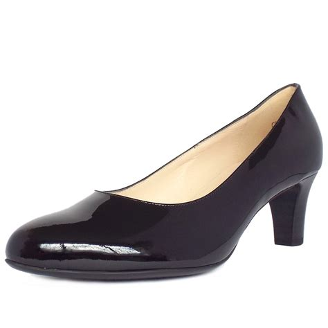 in shoes kaiser black patent high heel court shoes