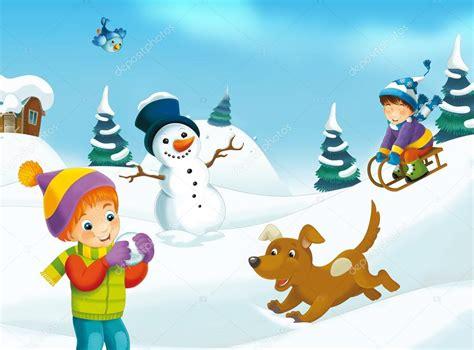 imagenes de un invierno dibujos animados de invierno con los ni 241 os foto de stock