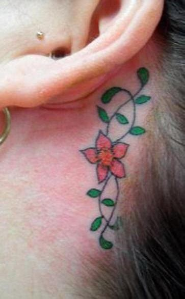 orchid tattoo behind ear coloured flower tracery tattoo behind ear tattooimages biz