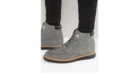 Kickers Suede Grey kickers kwamie suede lace up boots in gray for lyst