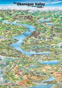 Okanagan Canada Map by Pictorial Map Of Okanagan Valley Canada Mappery
