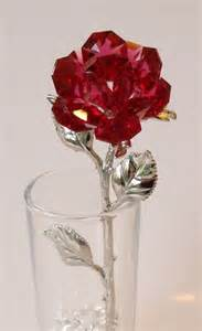What Is A Bud Vase Red Crystal Rose Made Using Swarovski Crystal In By