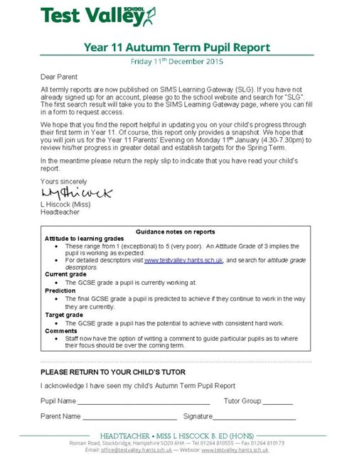 Parent Letter Before Testing Test Valley School Year 11 Autumn Term Pupil Report December 2015