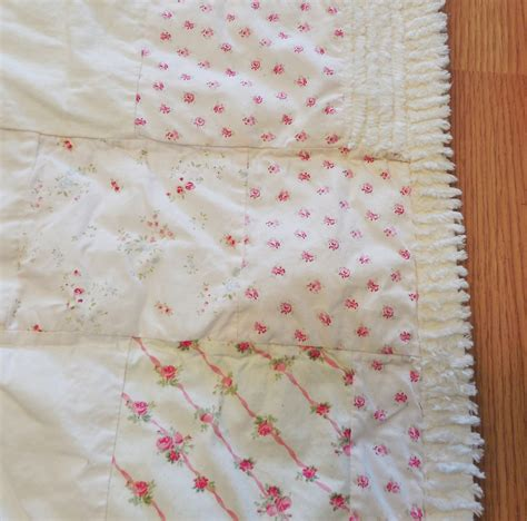 vtg simply shabby chic white pink rose patchwork chenille quilt full queen ebay