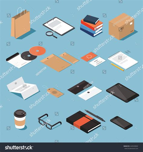 Objects With Paper - isometric stationery vector set isometric mock stock