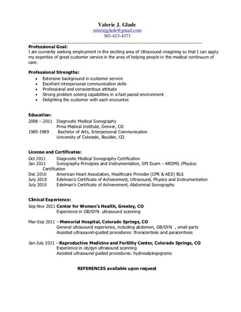 gallery of ultrasound tech resume exles