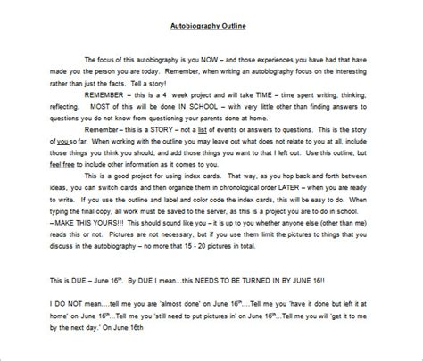autobiography outline template 8 free sle exle