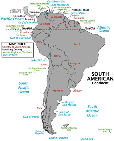 south america map bodies of water physical geography america