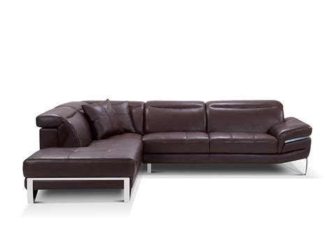 Leather Sectionals Sofas Modern Brown Leather Sectional Sofa Ef194 Leather Sectionals