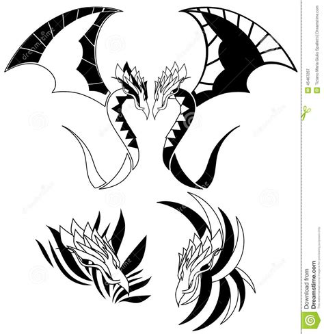 isolated black winged dragon tattoo stock illustration