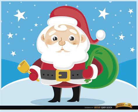 imagenes de santa claus navideñas animadas dibujos animados de santa claus cencerro vector gratis