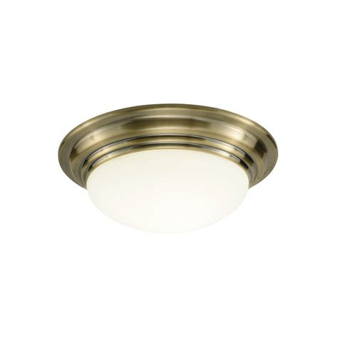 Large Barclay Antique Brass Circular Flush Bathroom Ceiling Light