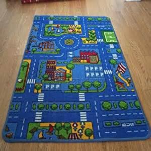 childrens kids blue car road rugs play mat 80x120cm