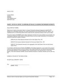Partnership Break Letter notice of intent to exercise option s to acquire