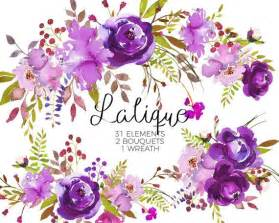 purple watercolor flowers clipart set wedding floral bouquets purple green red peony roses clip