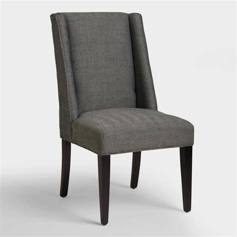armchair dining charcoal herringbone lawford dining chairs world market