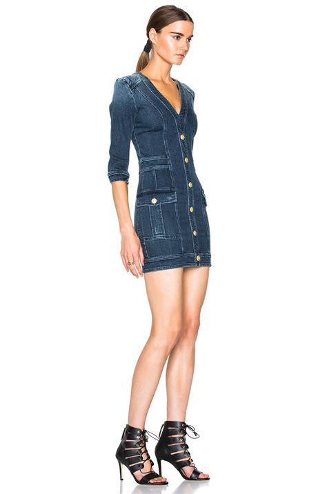 Dress Yuyu Mini Dress Denim balmain denim mini dress in blue lyst