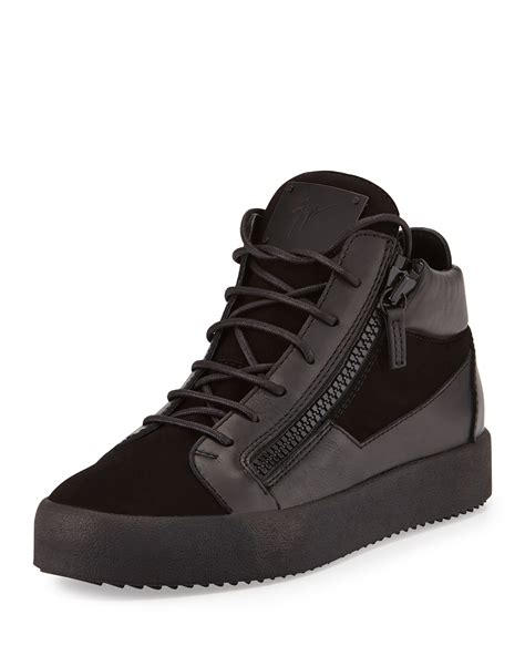 Mid Top giuseppe zanotti leather mid top sneaker in black for lyst