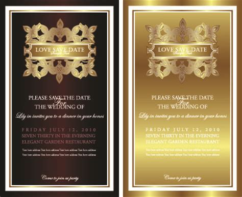 invitation design graphics invitation gold card design vector graphics 02 over