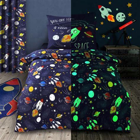 kids glow  dark space rocket stars bedding duvet quilt cover set  curtains