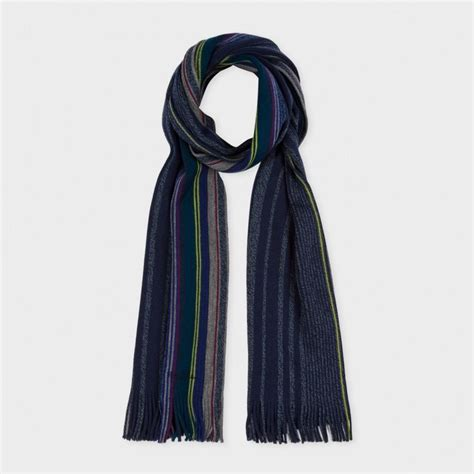 paul smith s navy varied stripe wool scarf in blue for