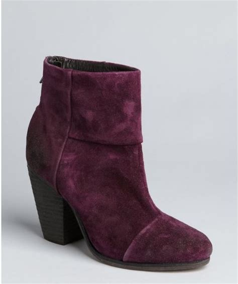 rag bone plum suede newbury ankle boots in purple plum