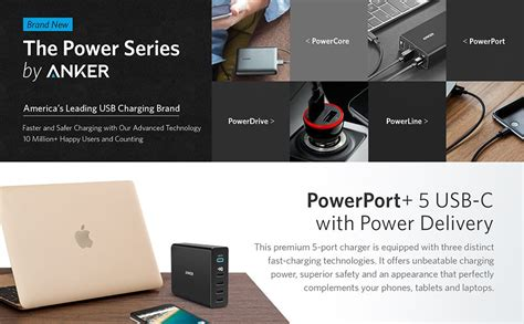 Original Anker A2054611 Powerport 5 60w Charge 3 0 5 Usb Black anker powerport 5 port 60w usb c charger with power delivery au version ebay