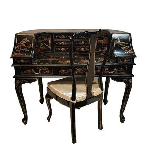 desk 48 inches wide desk in black lacquer with artistic landscape