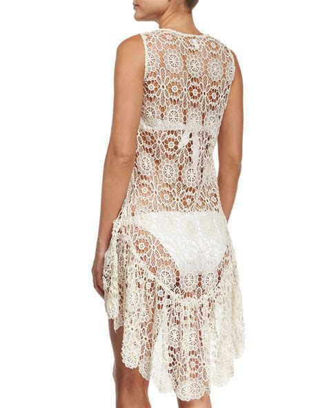 Crochet Lace Cover Up lyst pilyq island crochet lace coverup dress in white