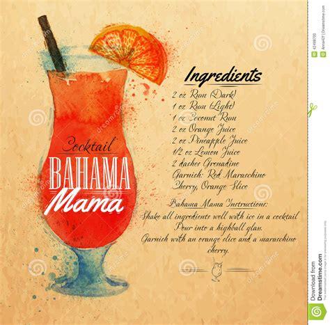 bahama mama cocktails watercolor kraft stock vector
