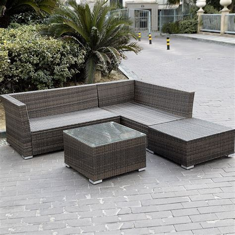 outdoor sectional sofas giantex 4pc wicker rattan outdoor sectional sofa set