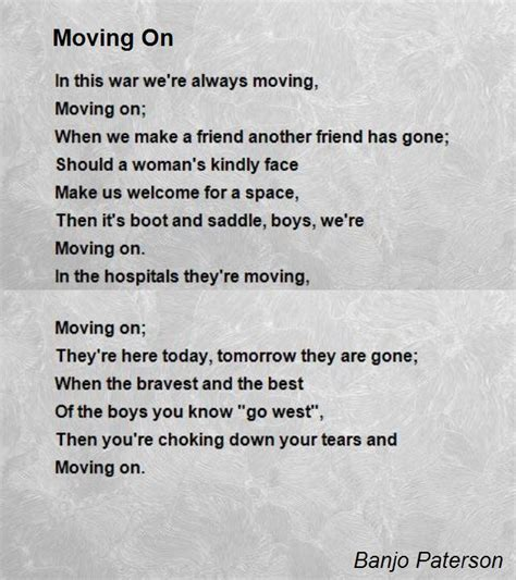 Moving On moving on poem by banjo paterson poem